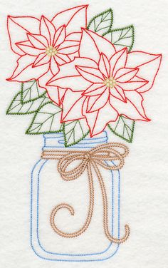 Blooming Poinsettias in Mason Jar (Vintage) design (L9423) from www.Emblibrary.com