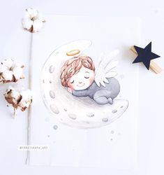 Angel Illustration, Cute Illustration, Baby Clip Art, Baby Art, Baby Painting, Painting For Kids, Boy Cartoon Drawing, Angel Drawing, Cute Paintings
