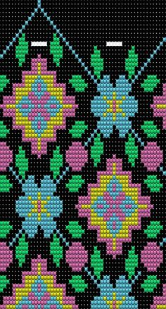 "The location where building and construction meets style, beaded crochet is the act of using beads to decorate crocheted products. ""Crochet"" is derived fro Tapestry Crochet Patterns, Bead Loom Patterns, Weaving Patterns, Cross Stitch Patterns, Mochila Crochet, Bag Crochet, Crochet Chart, Loom Bands, Knitting Charts"