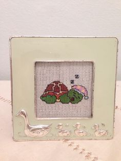 Etamin kaplumbaga cerceve cross stitch turtle
