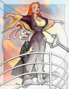 """Jessica Rabbit is the loving wife of Roger Rabbit. She appears to be a villain but says she is """" not bad, I'm just drawn that way"""". Jessica And Roger Rabbit, Jessica Rabit, Disney Pixar, Disney Art, Cartoon Art, Cartoon Characters, Rabbit Art, Doja Cat, Sexy Cartoons"""