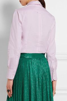 Gucci - Embroidered Pussy-bow Cotton Blouse - Pink - IT48