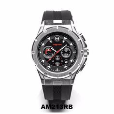 AM213RB - MSTR Ambassador MKIII Stainless Steel Case - Silver / Black / Red Watch