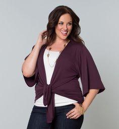 Just throw this purple fashion sweater with kimono sleeves on over jeans or casual skirt for fun style!