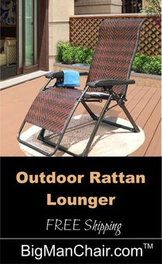 Outdoor Furniture and Patio Chairs recliner chair with FREE shipping, SAVE tax too, 500 LB Big Man Chair specializes in big and tall chairs. #homedecor #recliners #recliningchair #furniture #bigmanchair Patio Chairs, Adirondack Chairs, Outdoor Chairs, Outdoor Furniture Sets, Outdoor Decor, Manly Living Room, Living Room Chairs, Rattan Lounger, Handmade Wood Furniture