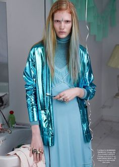 2nd June 2016 - indie metallic blue jacket paired with blue dress.