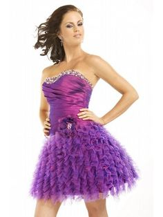 Strapless Purple Prom Dress