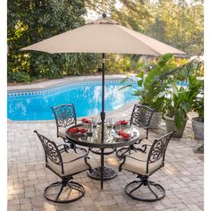 Traditions 5-Piece Dining Set in Tan with 48 In. Glass-top Table, 9 Ft. Table Umbrella, and Umbrella Stand - TRADDN5PCSWG-SU
