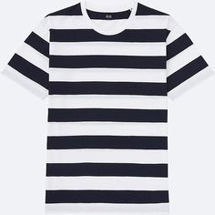 Our wide-striped t-shirt in bright colors.- Tasteful pre-wash process adds a casual look.- Medium-thick cotton material for a sturdy feel.- Wide striped pattern in bright, seasonal colors.- Look Wide Stripes, Designer Clothes For Men, Top Designer Brands, Uniqlo, New Outfits, Casual Looks, Fashion Online, Cool Style, Crew Neck