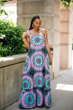 Items similar to African Kaftan Dress, Kaftan Maxi Dress, Green and Purple Ankara Print Dress, Korinko Sleeveless Summer Dress for Women on Etsy African Print Dresses, African Fashion Dresses, African Wear, African Dress, Ankara Fashion, African Style, African Blouses, Ankara Dress, Floral Maxi Dress