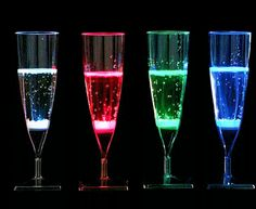 liquid activated light-up champagne glasses
