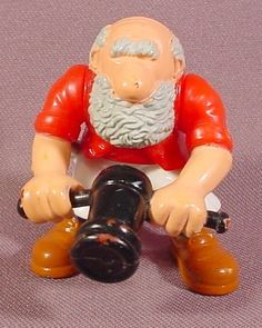 Fisher Price 1995 Pirate Ship Figure, Bald Head With Gray Beard, Holding Small Cannon, 7043 77043
