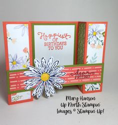 Daisy Bridge Fold Mary Hanson Up North Stampin Fancy Fold Cards, Folded Cards, 3d Cards, Easel Cards, Bridge Card, Hand Stamped Cards, Shaped Cards, Card Tutorials, Greeting Cards Handmade