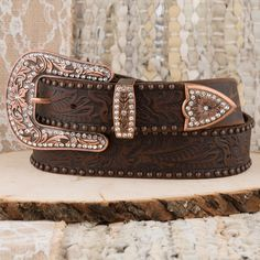"1-1//2/"" Terri Womens Western Full Leather Western Floral Engraved Cowgirl Belt"