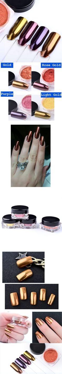 1 Box 2g Rose Gold Nail Mirror Powders Nails Glitters Dust Chrome Nail Art Pigment Shiny Manicure Nail Decorations Beauty Tools