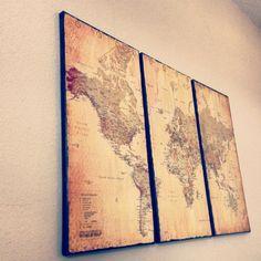 Custom vintage world map canvas art by Kustomcanvascreation, $150.00