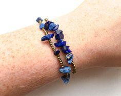 Blue Bead Sodalite Bracelet - Bronze Bead Gemstone Bracelet - Chip Bead Minimalist Bracelet - Sodalite Jewellery - Blue Bracelet - Upcycled thecoastaldesert the coastal desert handmade jewelry jewellery