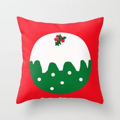 Christmas Pudding Throw Pillow by Dawn OConnor - $20.00