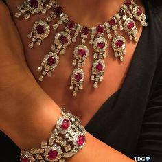 @the_diamonds_girl Enjoying rubies #HARRY WINSTON set on you!!! Priceless!!! The never ending discoveries of signed jewelry @yafasignedjewels.
