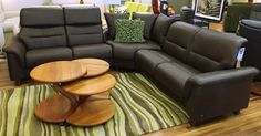 Ekornes Stressless Como Sectional. Shown in Paloma Chocolate leather. Available at Scanhome Furnishings in Green Bay.