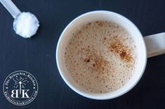 A little coconut flavour but added Vanilla. Homemade Paleo Coffee Creamer - This is a coffee game changer. It only takes a few seconds to whip up and is a clean eating option for those of you who love flavored coffee creamer. Paleo Coffee Creamer, Coffee Mugs, Coffee Latte, Coffee Drinks, Coconut Oil Coffee, Coffee Games, Keto, Paleo Diet, Paleo Food
