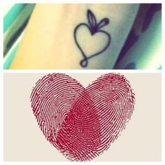 My perfect tattoo. Tony's and my thumbprints inside a heart shaped apple