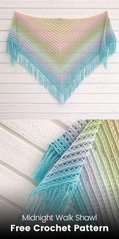 Midnight Walk Shawl Free Crochet Pattern #crochet #crafts #handmade #fashion #homemade #style #idea #design