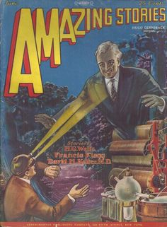 scificovers:  Amazing Storiesvol 3 no 3 June 1928. Cover by Frank R. Paul illustratingThe Blue Dimension by Francis Flagg.