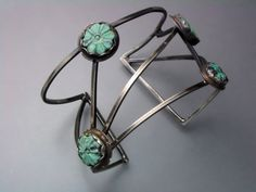 Strappy Cuff with turquoise by Temi on Etsy, $170.00