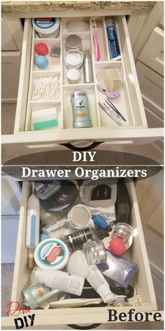 Get organized with this DIY custom wood drawer organizer! You can organize your bathroom or kitchen drawers with this easy DIY organization for the home! organization Get Organized with this Wooden DIY Drawer Organizer Diy Drawers, Wood Drawers, Kitchen Drawers, Vanity Drawers, Diy Vanity, Storage Drawers, Storage Boxes, Storage Baskets, Diy Organizer