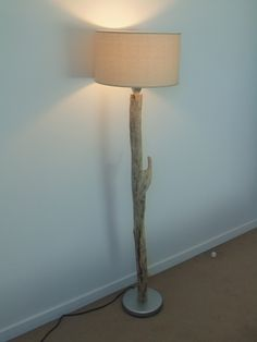 lampadaire bois flotté - abat jour cylindre Lin 35 cm - création unique
