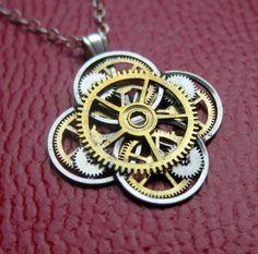 Watch Gear Flower Necklace Delphinium Elegant by amechanicalmind
