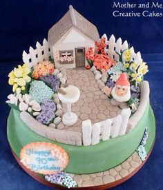 Cottage Garden Cake - Cake by Mother and Me Creative Cakes - CakesDecor Pretty Cakes, Beautiful Cakes, Fantasy Cake, Retirement Cakes, Spring Cake, Garden Cakes, House Cake, Cupcakes, Novelty Cakes