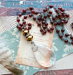 the sweetest drop. repurposed crystal chandelier prism necklace, long beaded chain, burgundy red, crimson, upcycled jewelry, flapper length by FabFleaMarket on Etsy