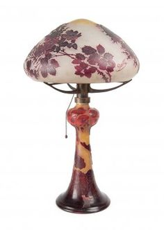 A French etched cameo glass lamp and shade by Emile : Lot 494