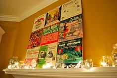 Vintage Christmas record jackets as art work.  Love it!!!
