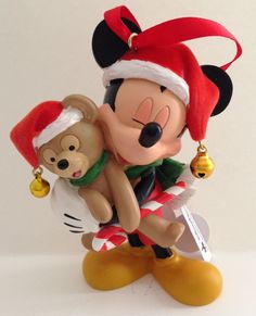 Disney Parks Santa Mickey Mouse With Duffy Bear Figurine Ornament NEW | eBay