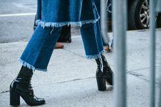 Dior boots, denim on denim, frayed hem denim, flared cropped jeans