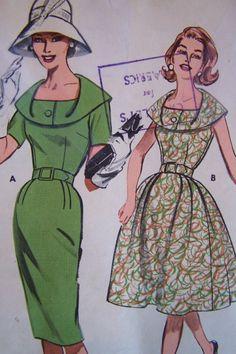 Uncut Vtg 50s 60s Day Dress Full and Straight Skirt Butterick Pattern