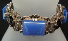 Theodor Fahrner Art Deco Silver, Marcasite, Onyx and Purple Jade Bracelet ca 1920