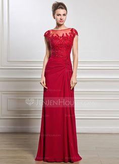 Sheath/Column Scoop Neck Floor-Length Chiffon Mother of the Bride Dress With Ruffle Beading Appliques Lace Sequins Split Front (008056834) - JenJenHouse