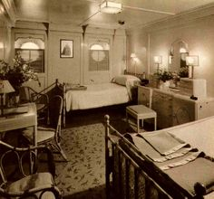 First Class Stateroom aboard the Lurline in the 1930's