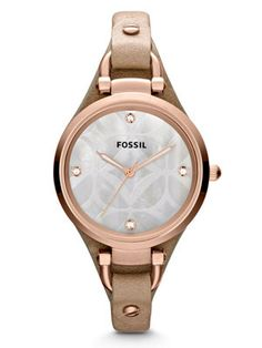 Shop for Fossil Women's Georgia Beige Leather Quartz Watch. Get free delivery On EVERYTHING* Overstock - Your Online Watches Store! Georgia, Fossil Watches, Cool Watches, Women's Watches, Best Watch Brands, Online Watch Store, Leather Pattern, Quartz Watch, Gold Watch
