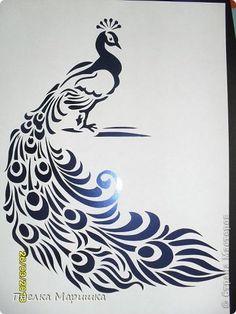Картина, панно, рисунок Вырезание, Вытынанка: Птица - красавица Бумага. Фото 15