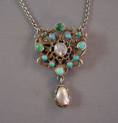 Austro-hungarian brooch pendant necklace pearls, Persian turquoise set in silver tone with a sterling chain.