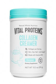 Vital Proteins Coconut Collagen Creamer features healthy ingredients served alongside 10 grams of collagen peptides. It is a dairy free creamer, perfect for use a coffee creamer with a delicious coconut creamer flavor. Coconut Milk Nutrition, Pasta Nutrition, Diet And Nutrition, Nutrition Guide, Nutrition Classes, Watermelon Nutrition, Nutrition Education