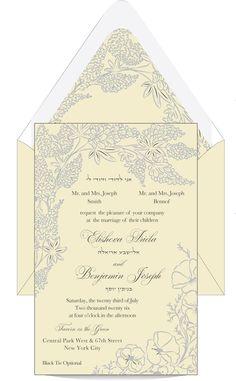 Stunning Floral Jewish Wedding Invitation