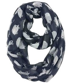 9bd3b5af8 Hedgehog Print Infinity Loop Scarf for Women Lightweight - Black and White  - CQ11PW52JQN - Scarves