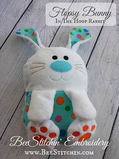 Flopsy Bunny Rabbit Softie Embroidery Design 4x4 by BeeStitchin