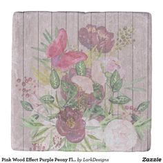 Pink Wood Effect Purple Peony Floral Bouquet Stone Coaster